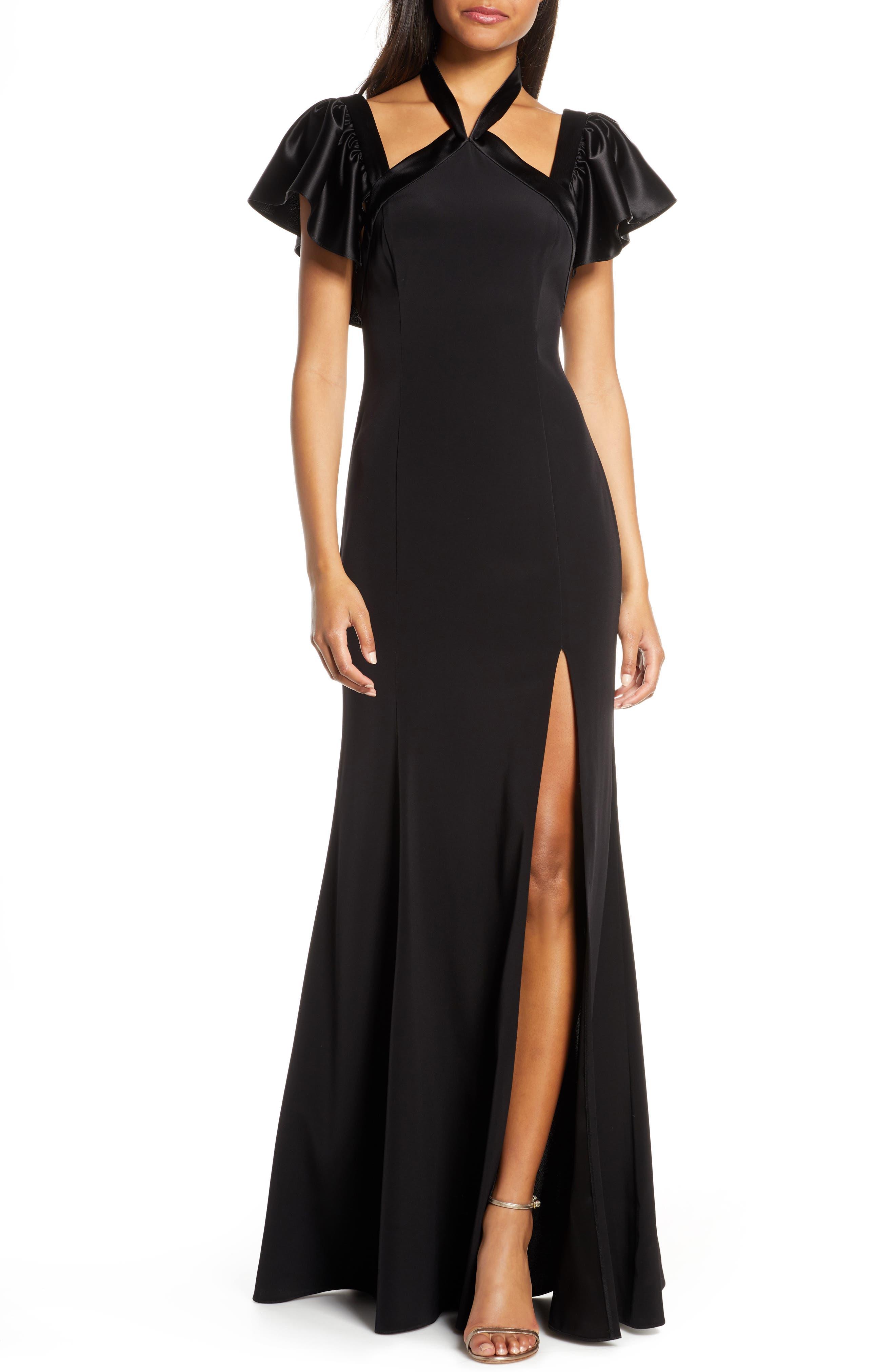 Jill Jill Stuart Crepe Back Satin Halter Neck Evening Gown, Black