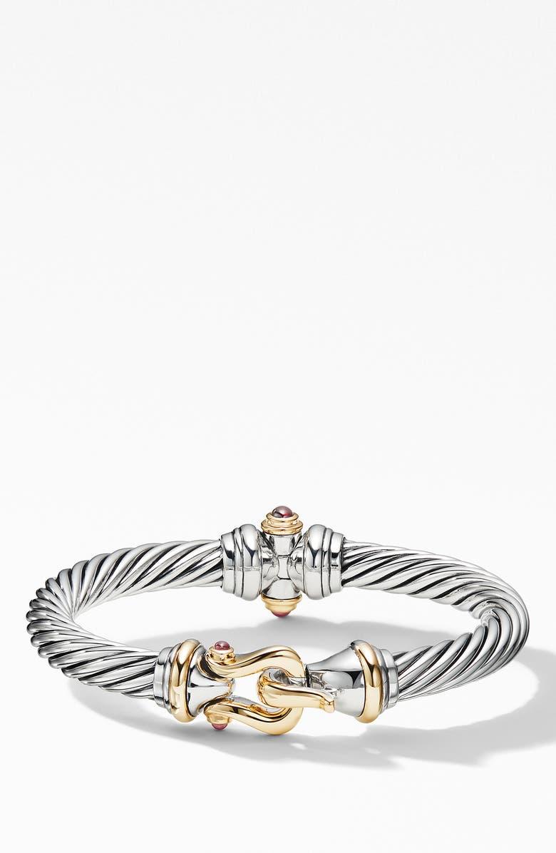 David Yurman Cable Buckle Bracelet With 18k Yellow Gold Rhodalite Garnet