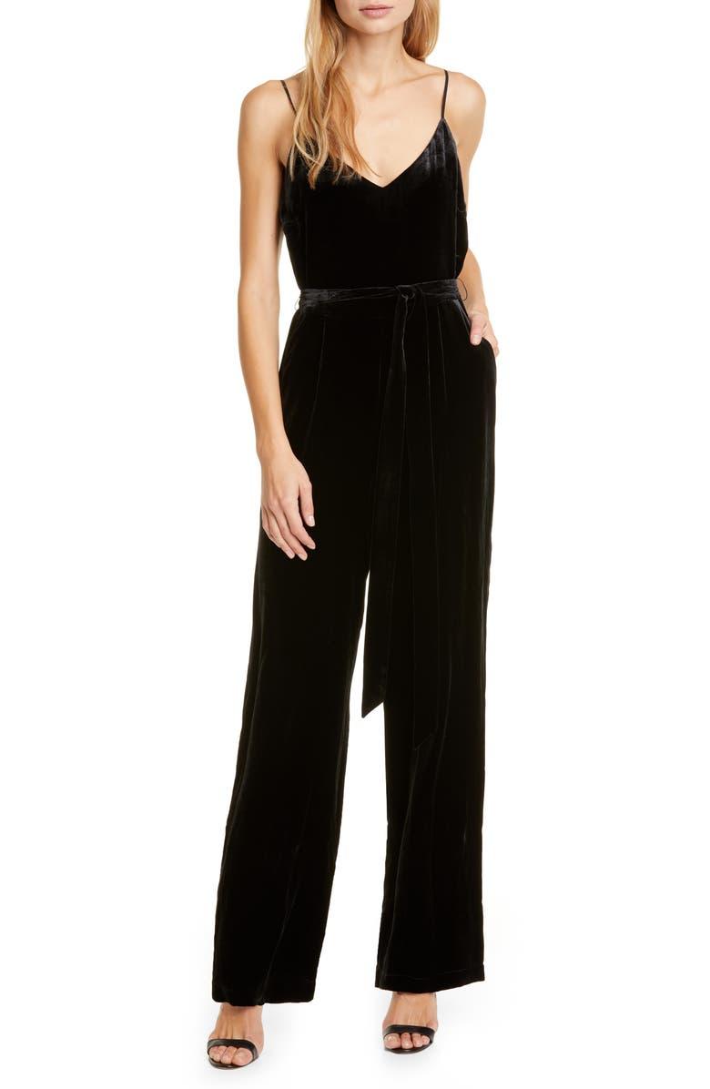 L'AGENCE Jackie Velvet Jumpsuit, Main, color, BLACK