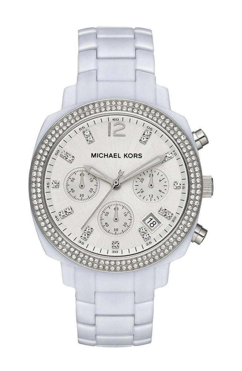 MICHAEL MICHAEL KORS Michael Kors 'Wolcott' Chronograph Bracelet Watch, 41mm, Main, color, White