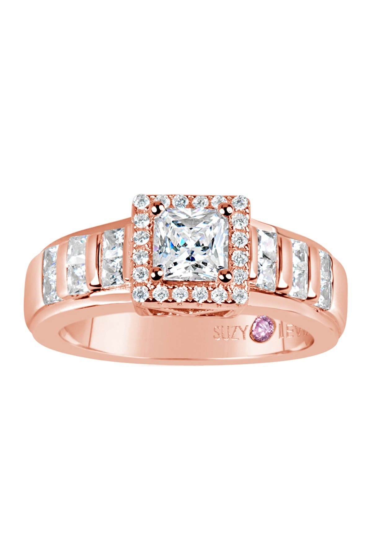 Image of Suzy Levian Rose Plated Sterling Silver Asscher Cut CZ Engagement Ring