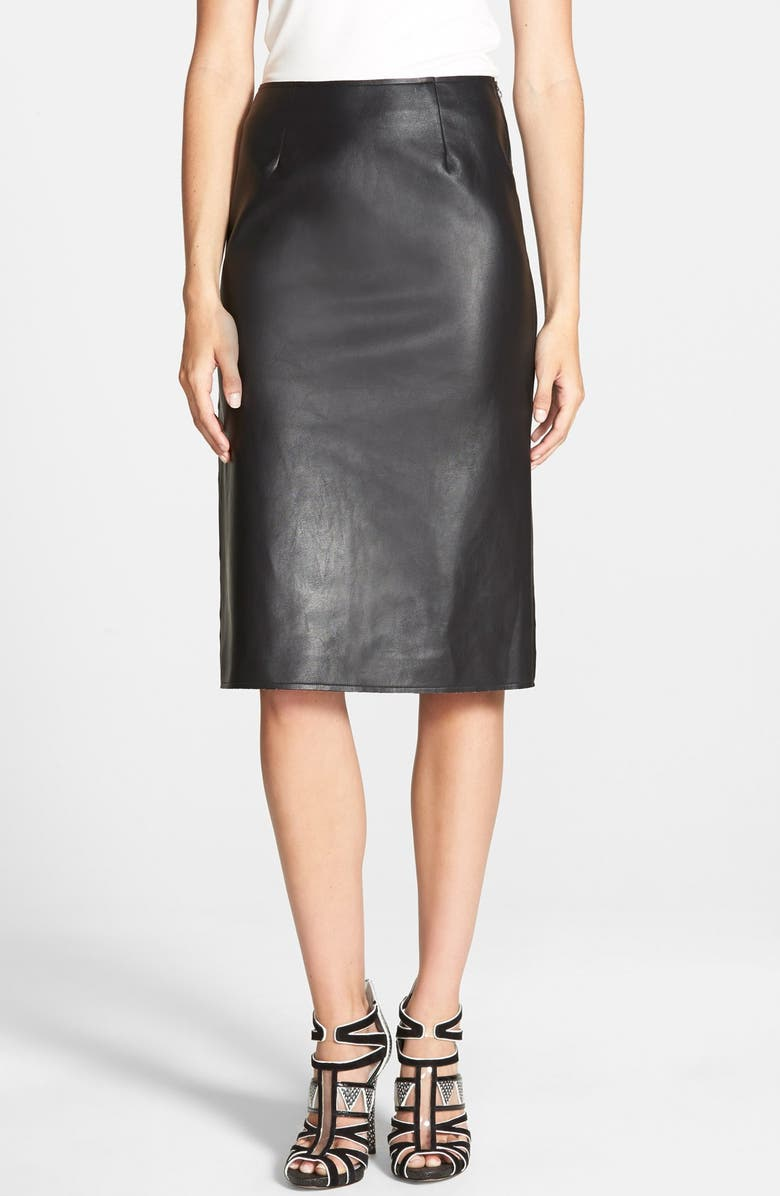 J.O.A. Faux Leather Pencil Skirt, Main, color, 001