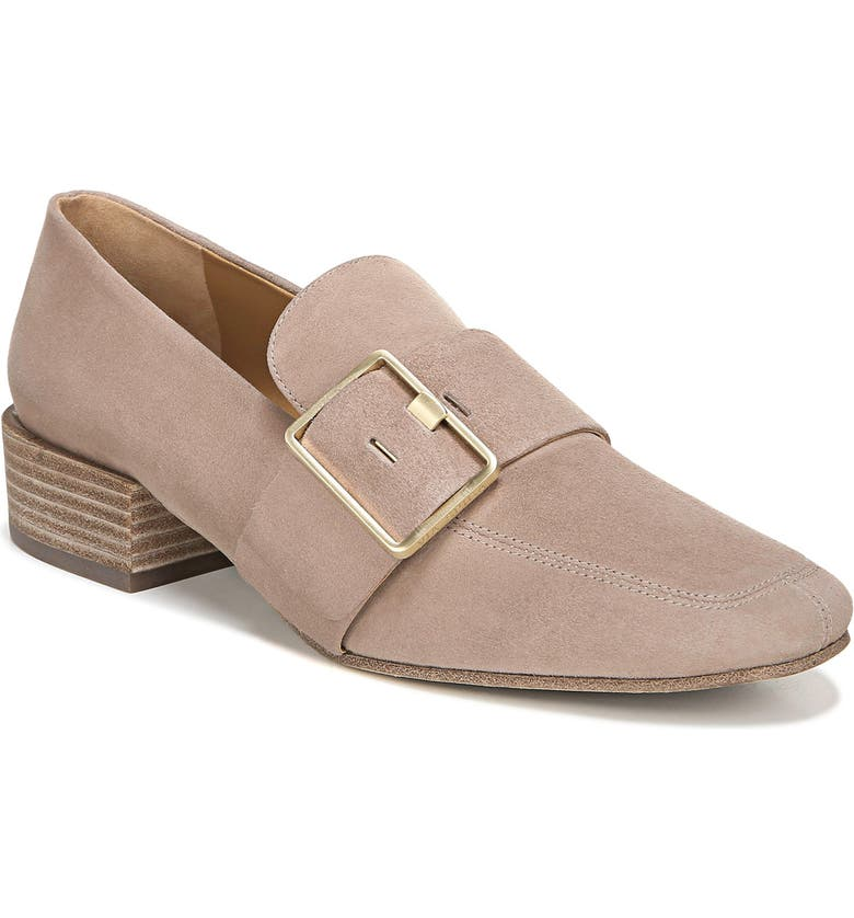 VIA SPIGA Brilee Buckle Loafer, Main, color, BLUSH SUEDE