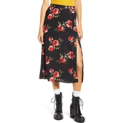 Bp. X Claudia Sulewski Front Slit Midi Skirt, Black