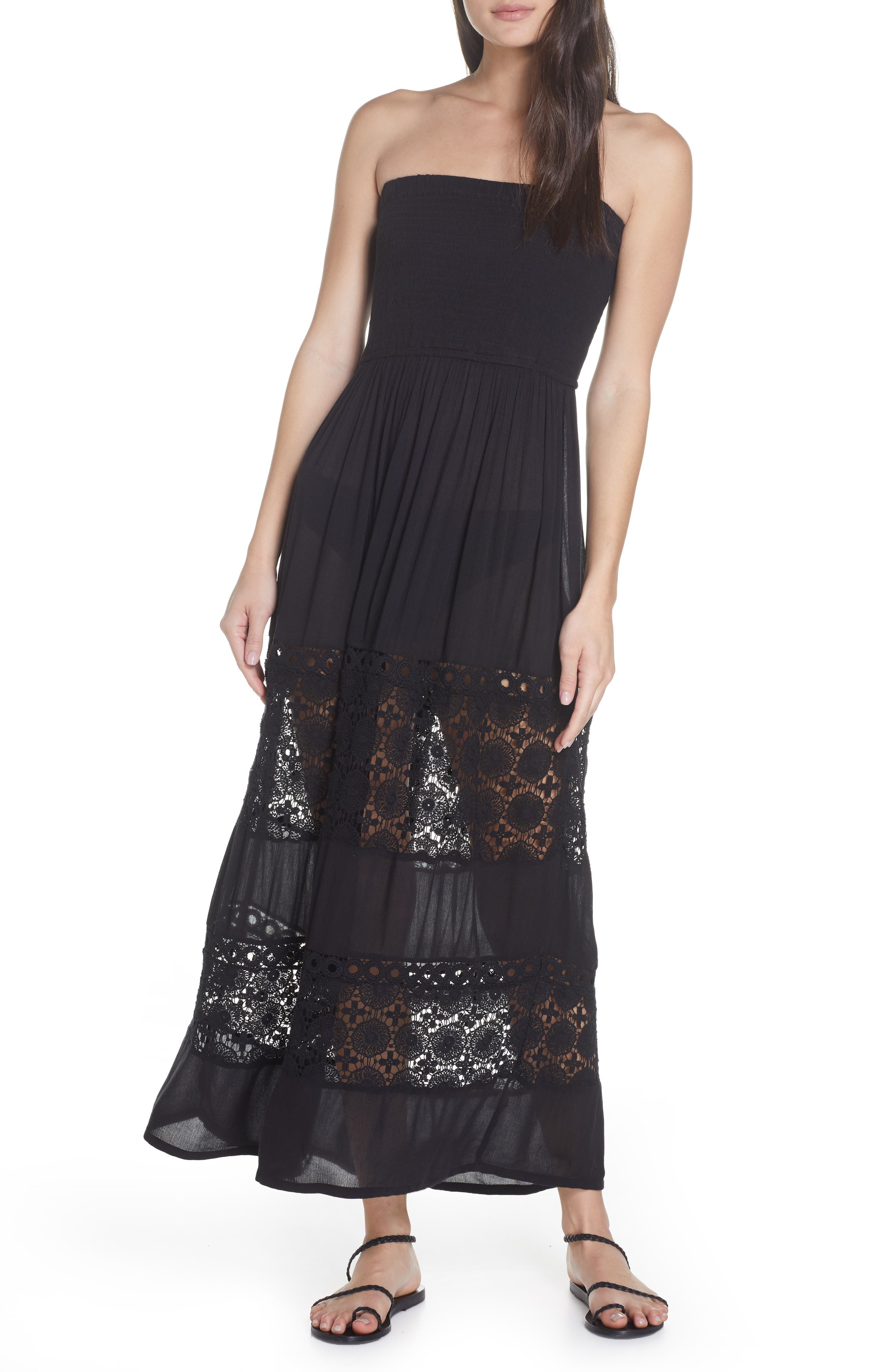 ,                             Farrah Smocked Cover-Up Maxi Dress,                             Main thumbnail 1, color,                             BLACK