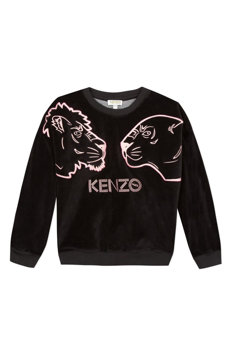 KENZO Embroidered Tiger Head Graphic Sweatshirt, Main, color, BLACK