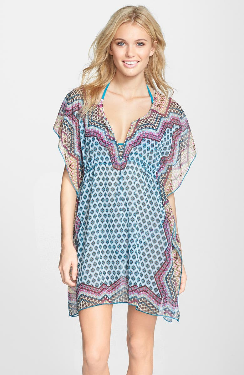 BECCA 'Borrowed From The Boys' Chiffon Cover-Up Tunic, Main, color, 400