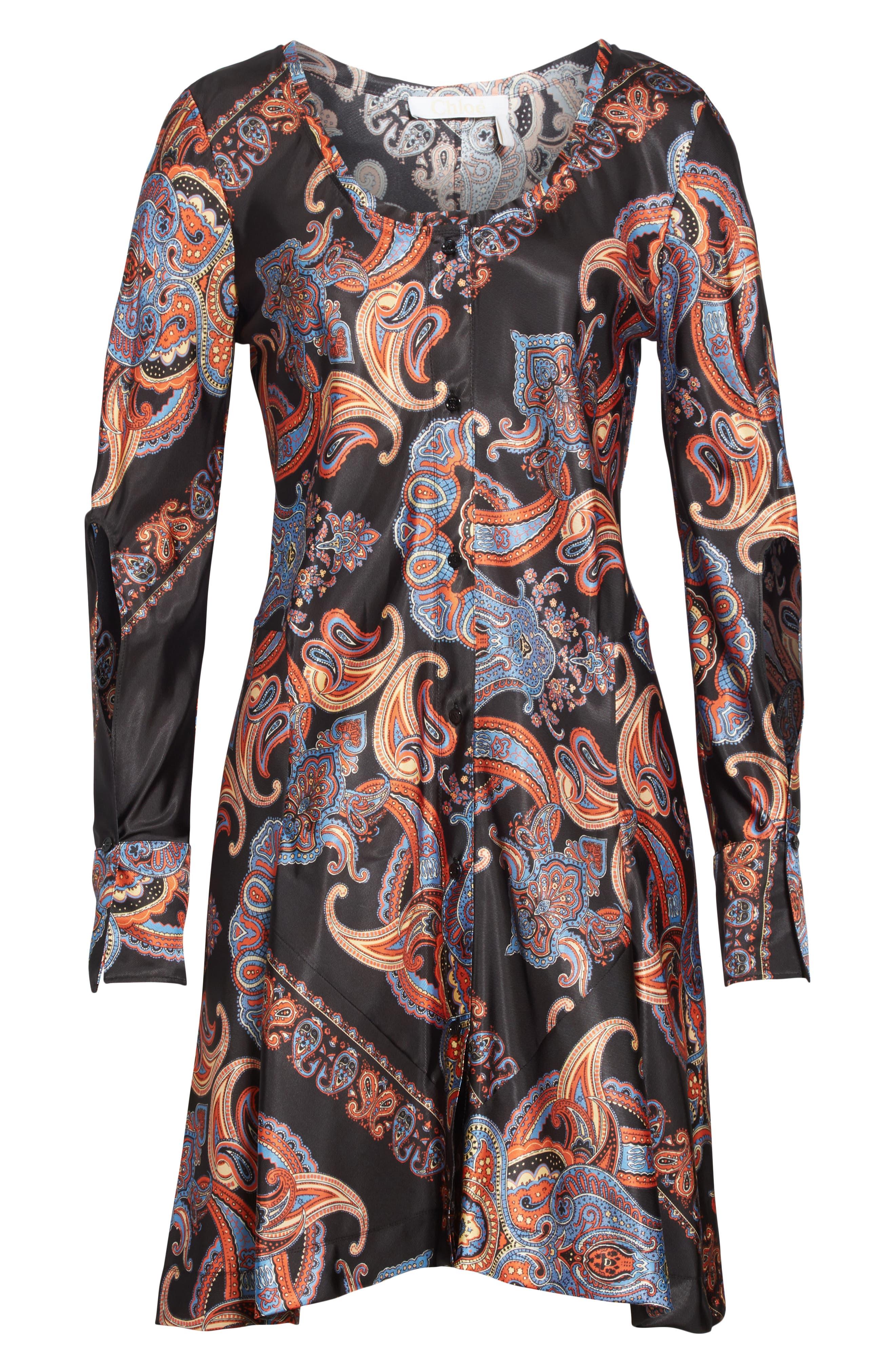 ,                             Persian Print Viscose Twill Minidress,                             Alternate thumbnail 6, color,                             BLACK
