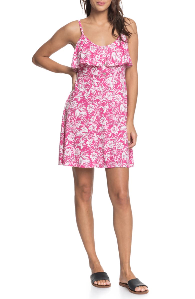 ROXY Real Friends Floral Minidress, Main, color, BEETROOT PURPLE ISLAND COVE