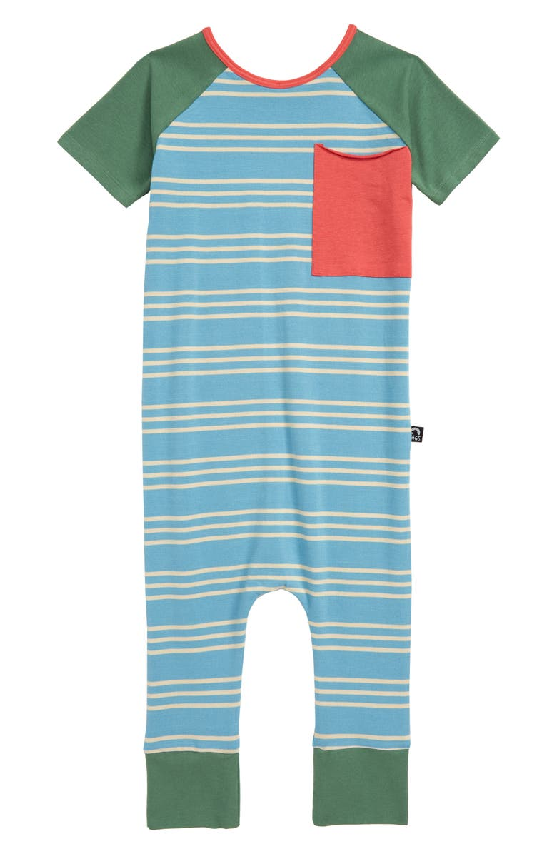 RAGS Stripe Short Sleeve Romper, Main, color, TEAL