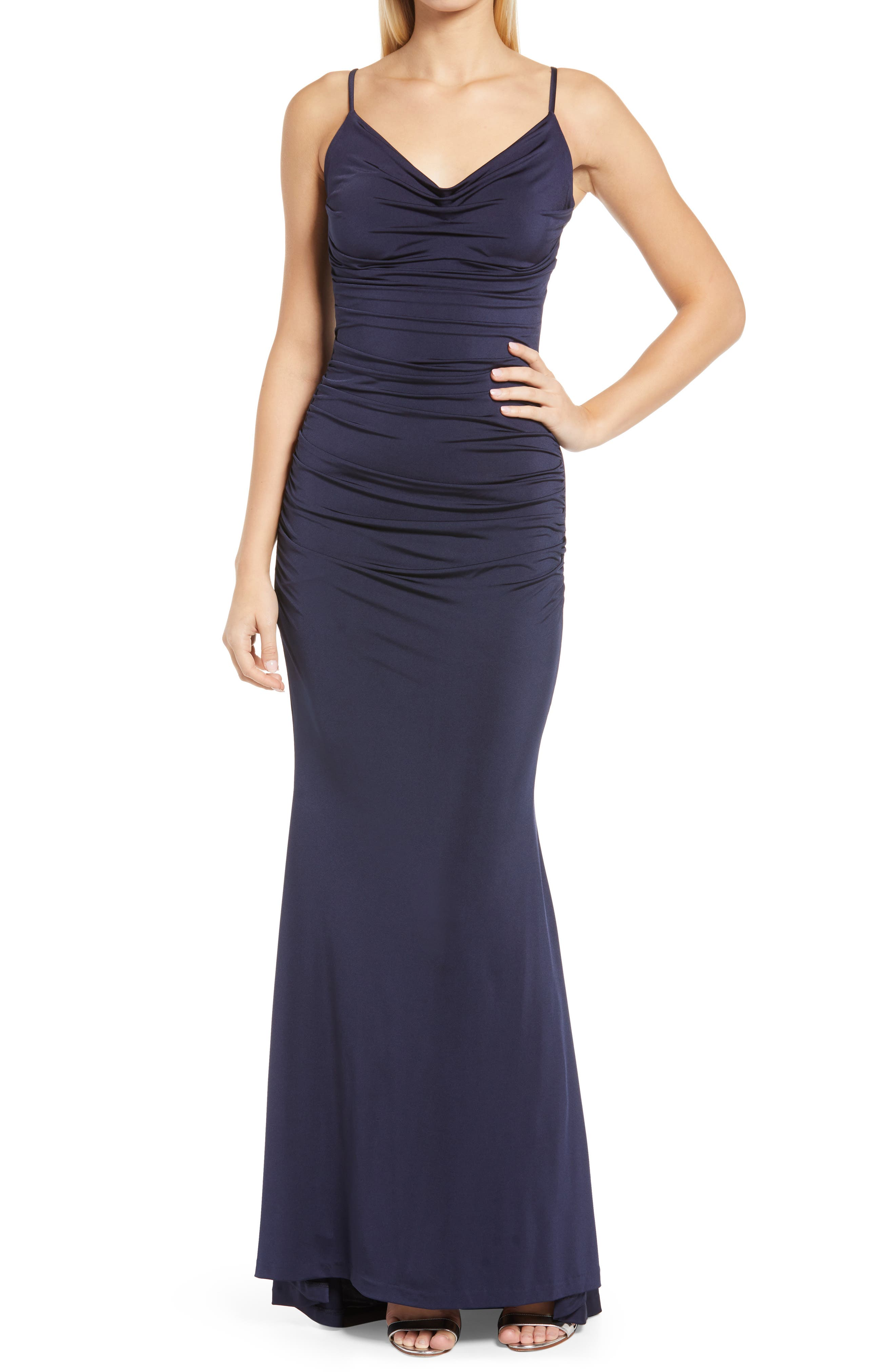 Cowl Neck Ruched Jersey Gown