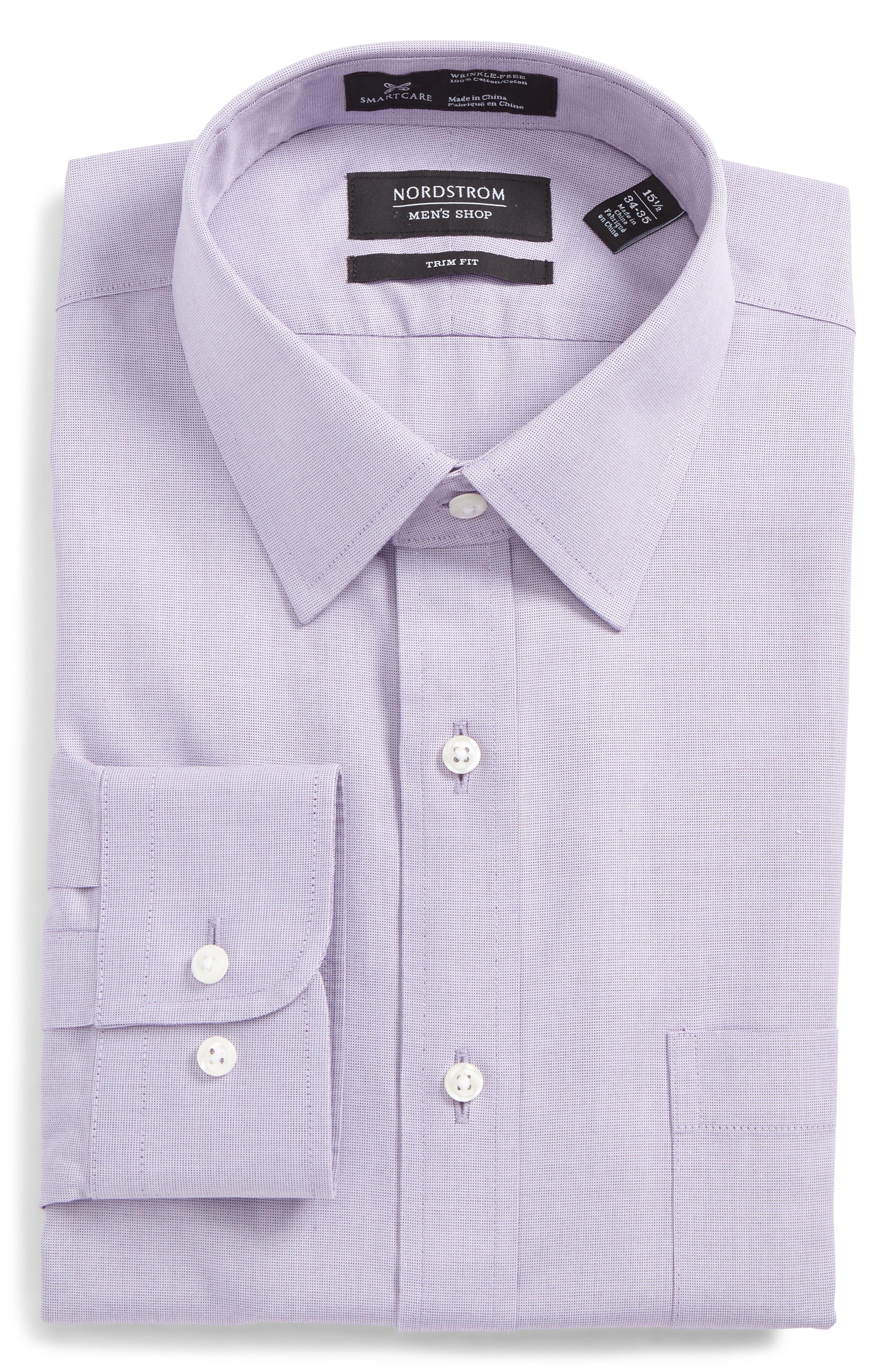 Nordstrom Shop Smartcare(TM) Trim Fit Solid Dress Shirt, 5.5 34/35 - Purple