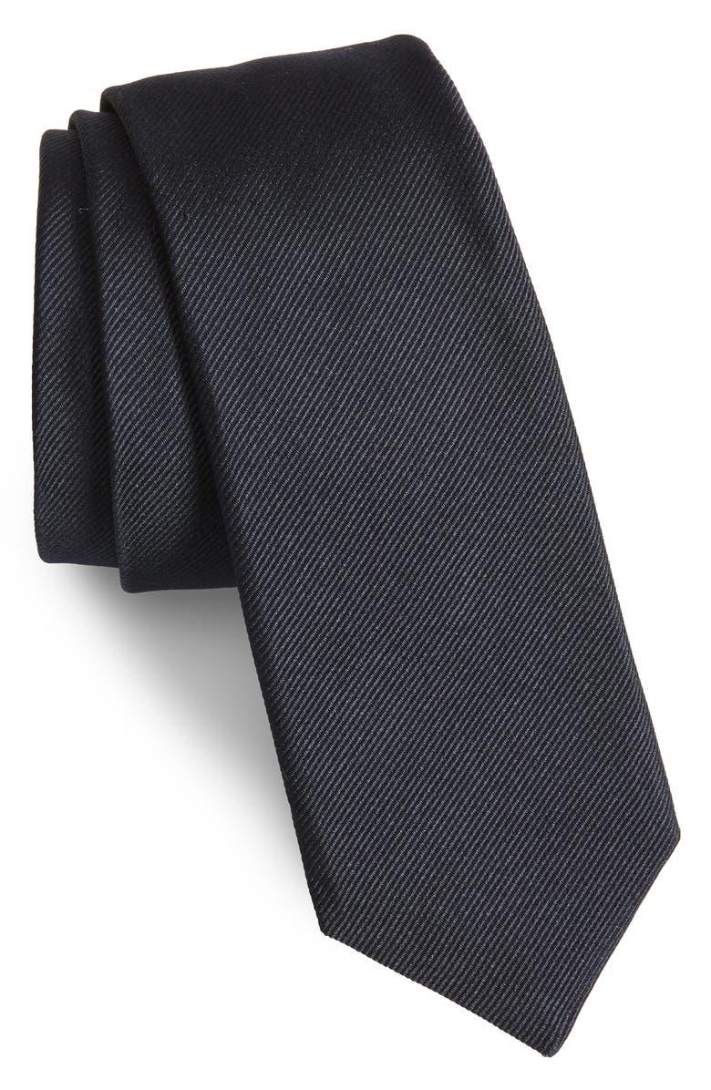 BOSS Solid Silk Tie, Main, color, BLUE