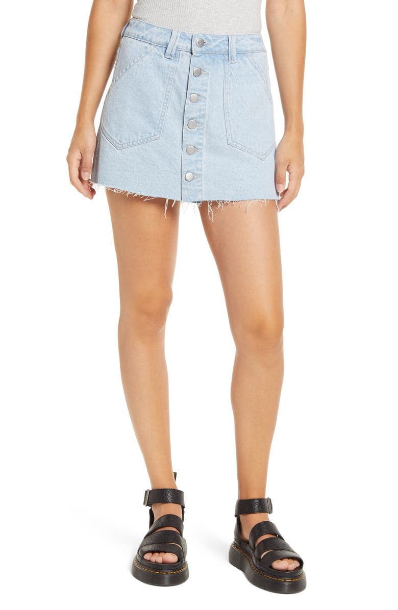 PTCL Button Front Denim Skort, Main, color, LIGHT WASH