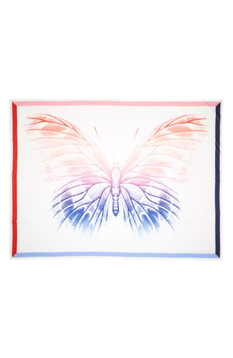 ALEXANDER MCQUEEN Rainbow Moth Cotton & Silk Pareo Scarf, Main, color, IVORY/ PINK