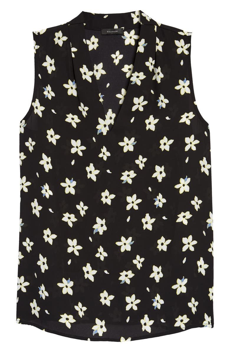 HALOGEN<SUP>®</SUP> V-Neck Blouse, Main, color, BLACK- IVORY FLOATING FLOWER