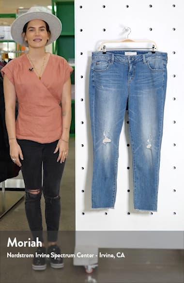 High Waist Fray Hem Ankle Jeans, sales video thumbnail