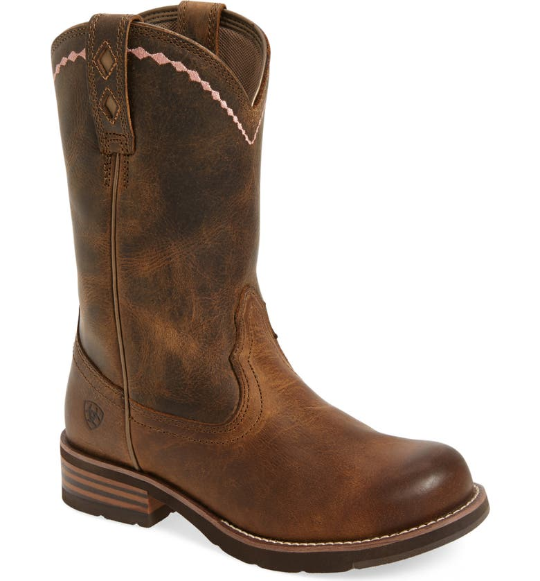 ARIAT Unbridled Roper Western Boot, Main, color, DISTRESSED BROWN LEATHER