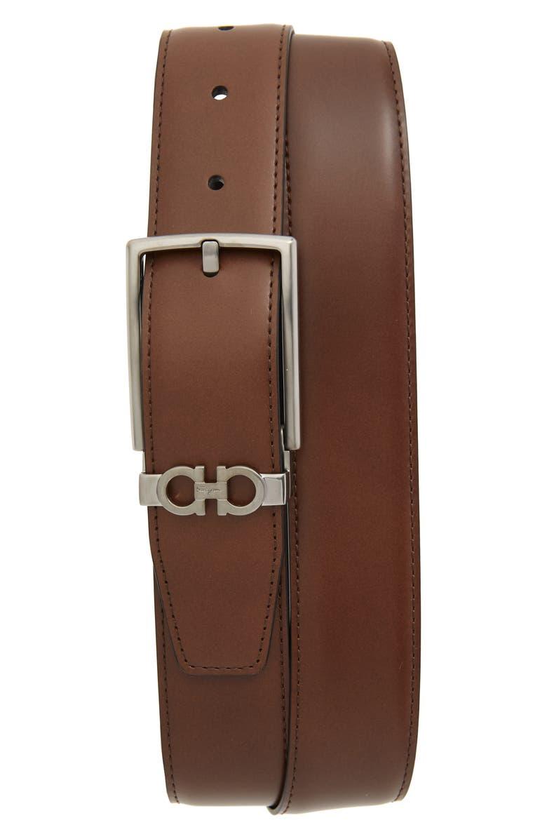 SALVATORE FERRAGAMO Reversible Leather Belt, Main, color, DARK BROWN/ BLACK