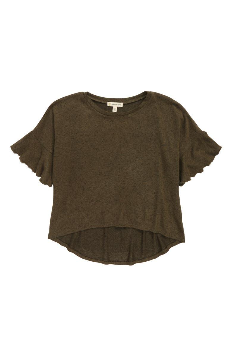 TUCKER + TATE Ruffle Knit Top, Main, color, OLIVE SARMA HEATHER