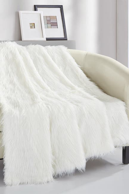 "Image of Chic Home Bedding Krista Shaggy Faux Fur Blanket - 50"" x 60"" - Beige"