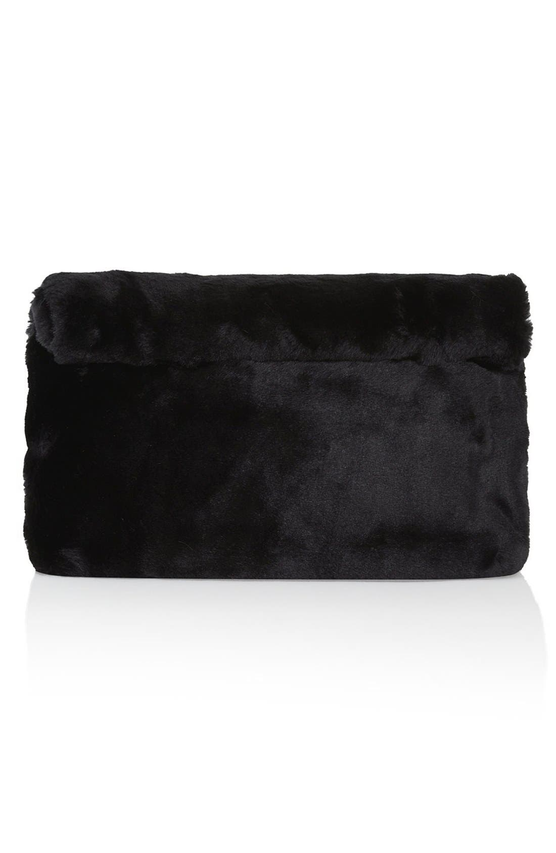 Faux Fur Clutch, Main, color, 001