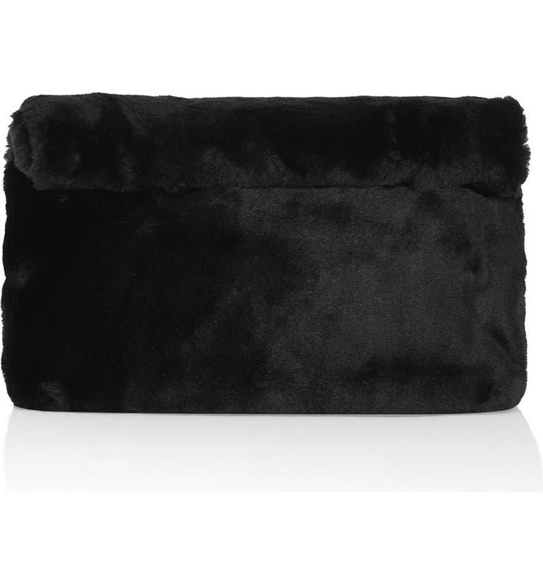 TOPSHOP Faux Fur Clutch, Main, color, 001