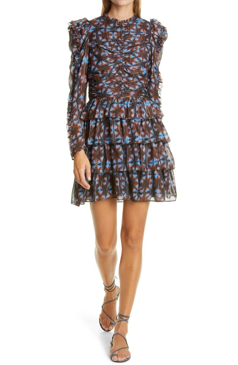 ULLA JOHNSON Siya Metallic Long Puff Sleeve Silk Dress, Main, color, TWILIGHT PRISM