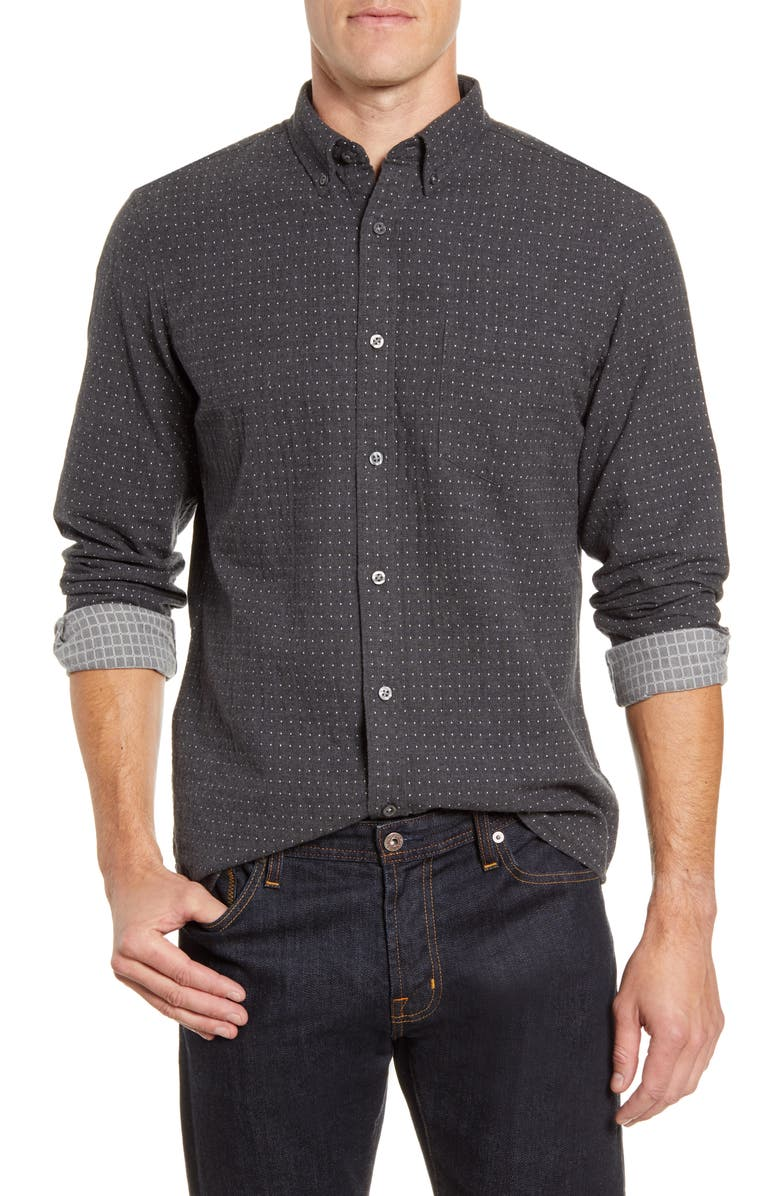 NORDSTROM MEN'S SHOP Trim Fit Button-Down Shirt, Main, color, GREY HEATHER DUO DOBBY