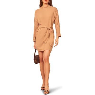 Reformation Meagan Mock Neck Long Sleeve Minidress, Beige