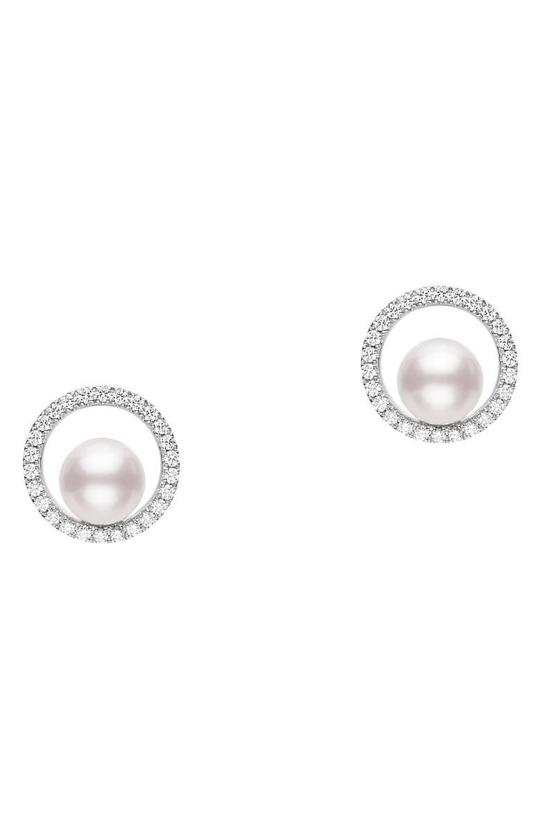 MIKIMOTO Diamond & Cultured Pearl Earrings, Main, color, WHITE GOLD