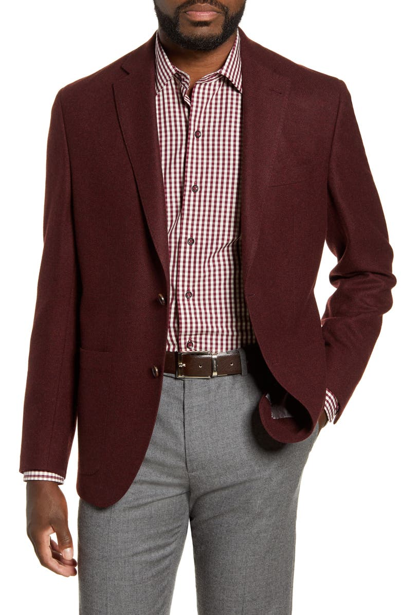 DAVID DONAHUE Aiden Classic Fit Solid Wool Sport Coat, Main, color, MERLOT