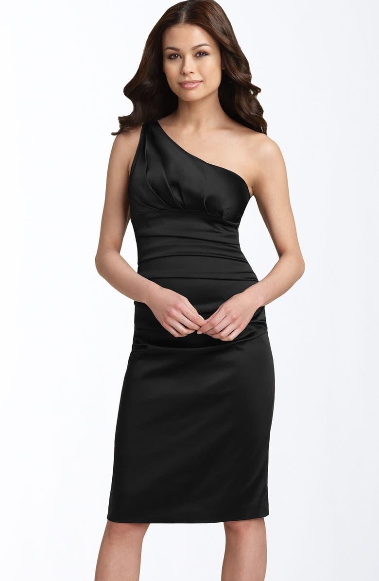 SUZI CHIN FOR MAGGY BOUTIQUE Stretch Satin Sheath Dress, Main, color, 001