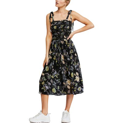 Free People Isla Floral Midi Sundress, Black