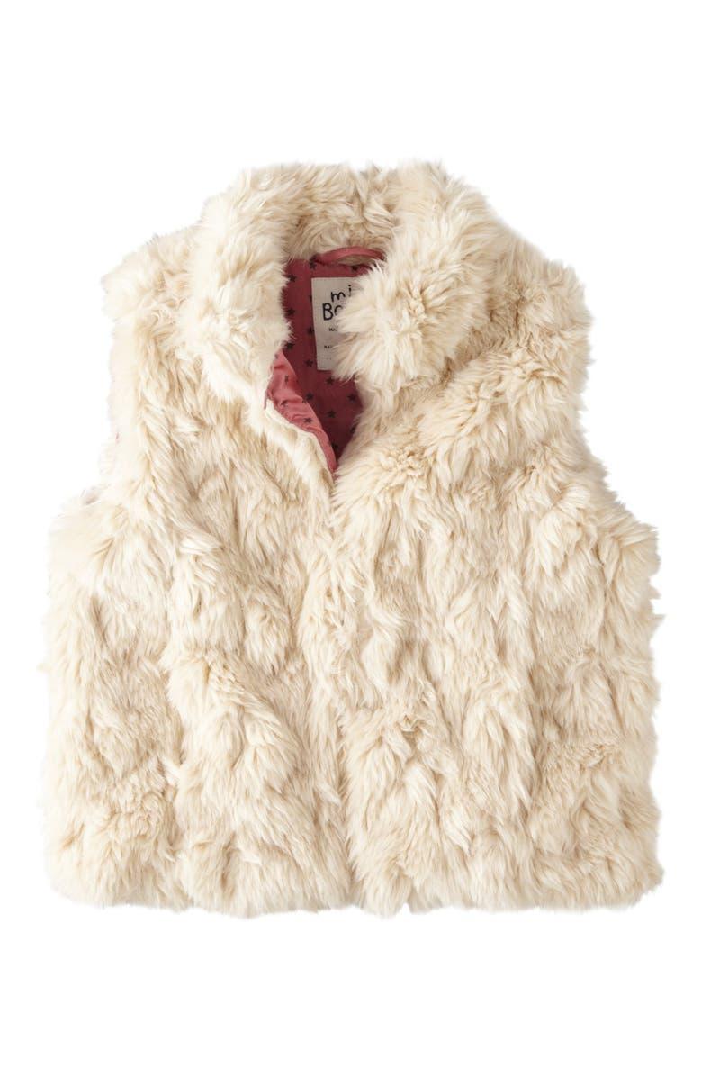 MINI BODEN Faux Fur Gilet, Main, color, 900