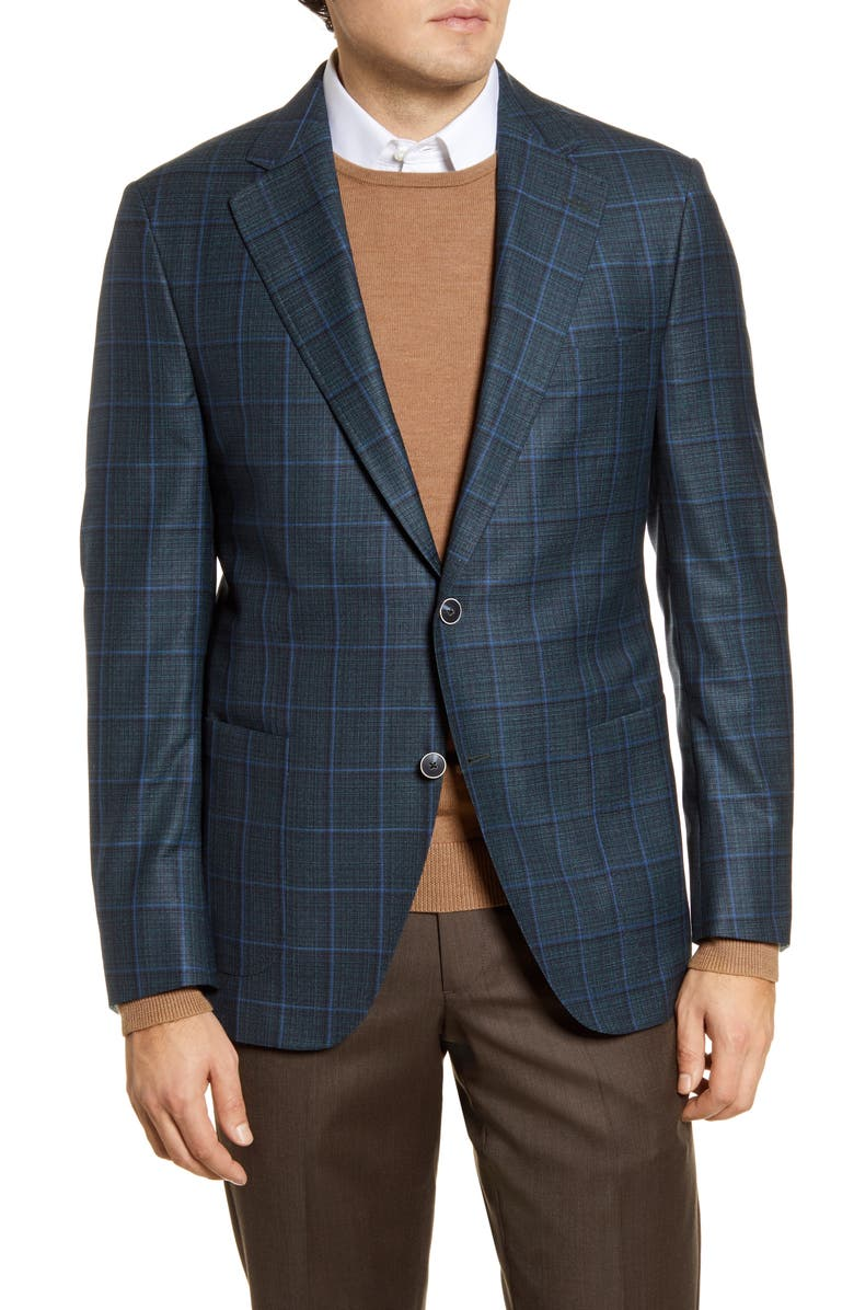 PETER MILLAR Classic Fit Windowpane Wool Sport Coat, Main, color, GREEN