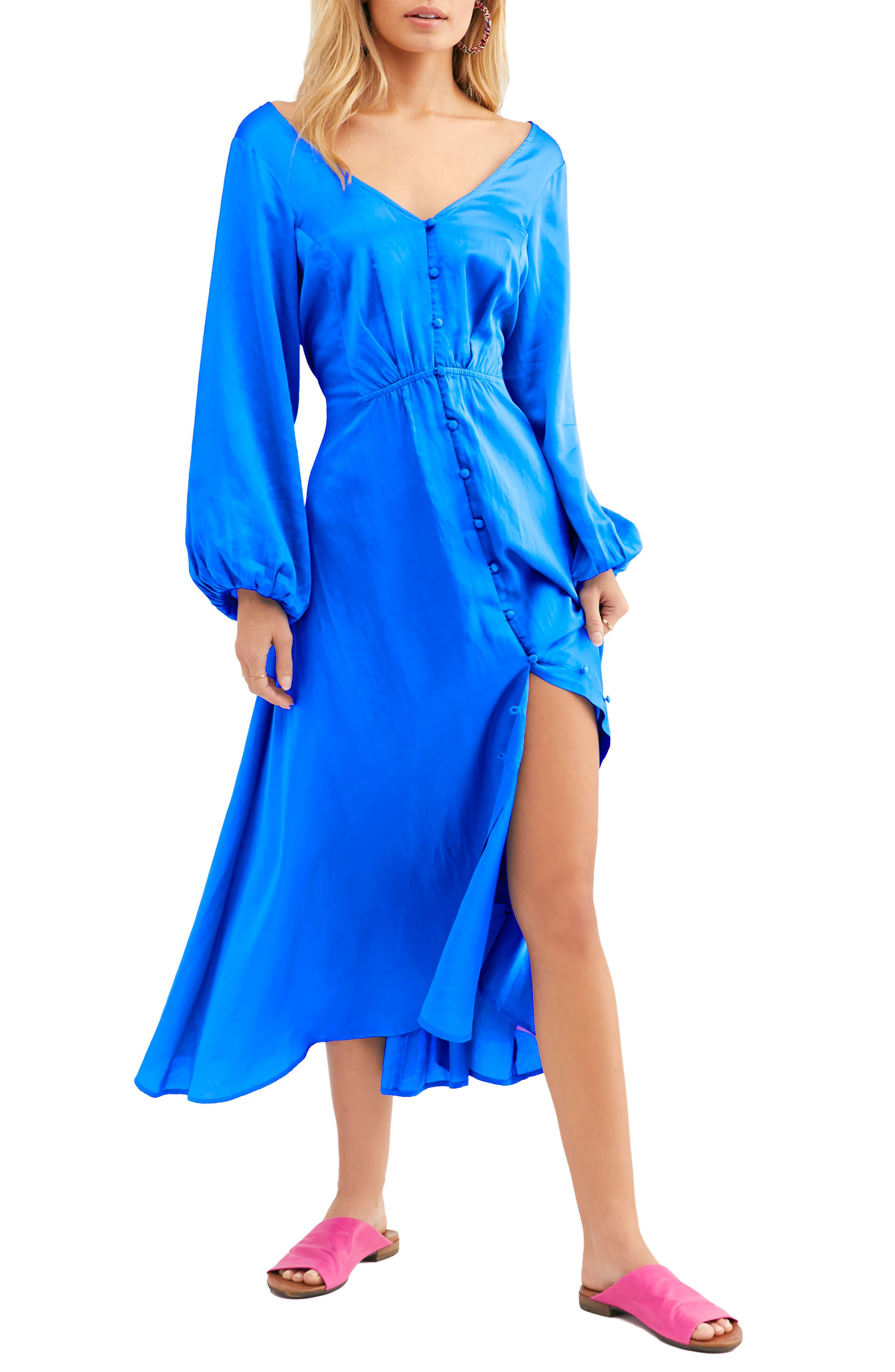 Free People Later Days Midi Dress, Blue