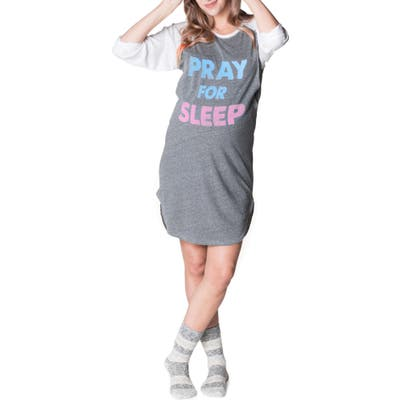 Bun Maternity Pray For Sleep Maternity/nursing Nightgown, Grey