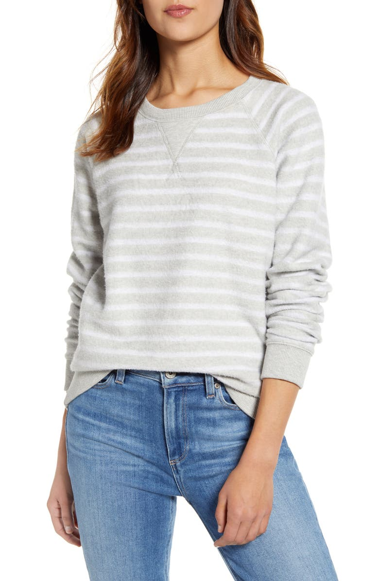 LUCKY BRAND Brushed Stripe Sweatshirt, Main, color, GREY HEATHER W/ WHITE STRIPE
