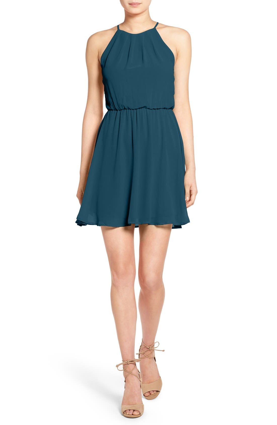 ,                             Blouson Chiffon Skater Dress,                             Main thumbnail 141, color,                             427