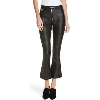 Cinq A Sept Marcelle Crop Flare Leather Pants, Black