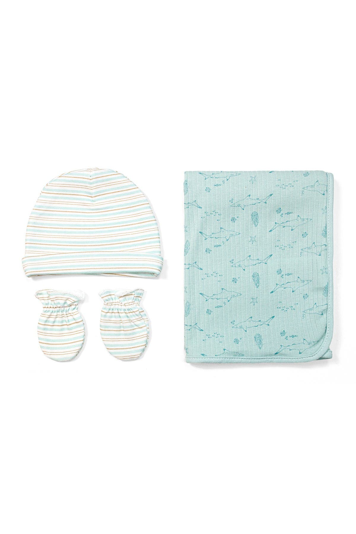 Image of RABBIT AND BEAR ORGANIC Printed Baby Blanket, Mitten, & Cap 3-Piece Set