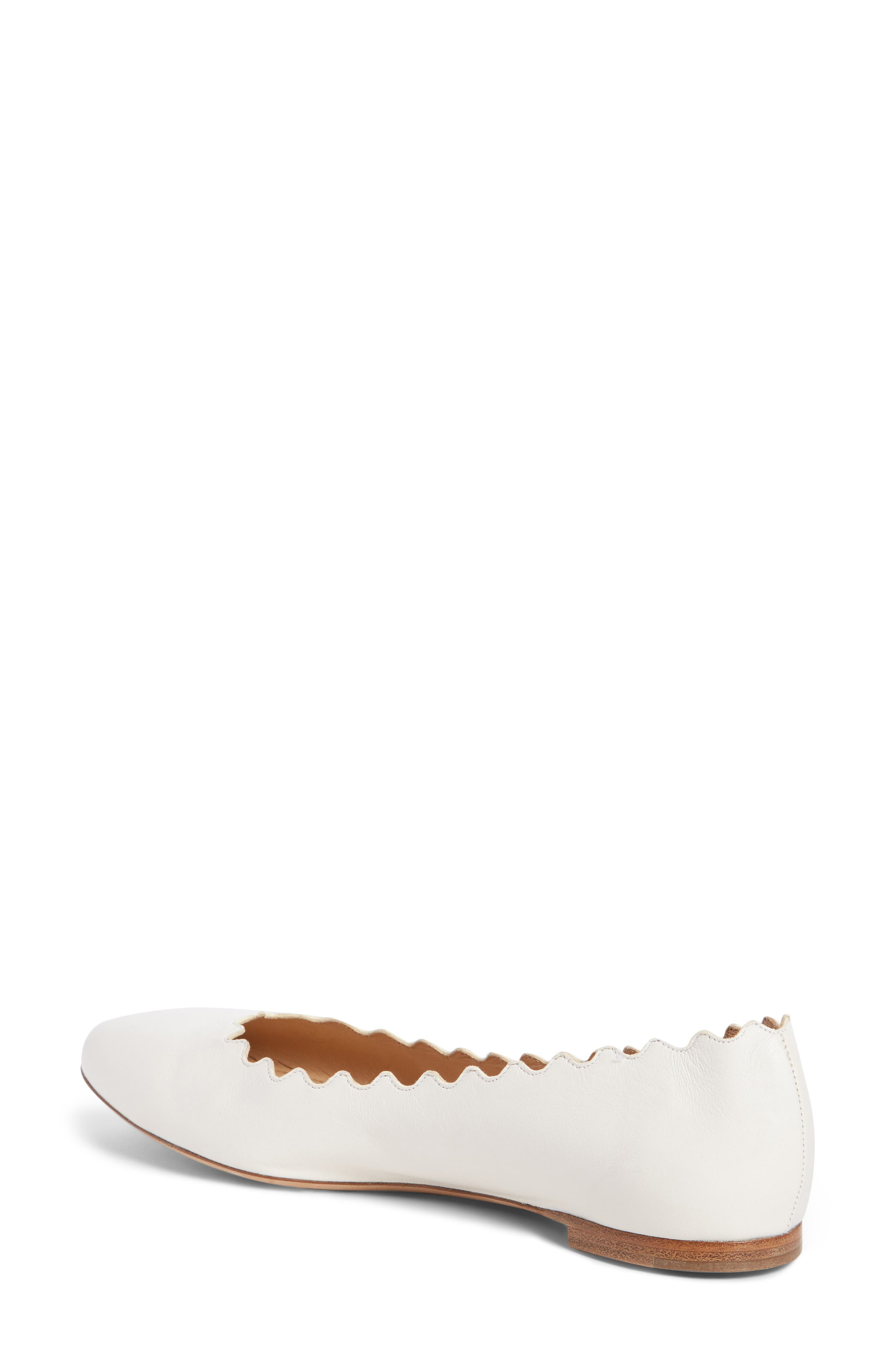 ,                             'Lauren' Scalloped Ballet Flat,                             Alternate thumbnail 2, color,                             CLOUDY WHITE
