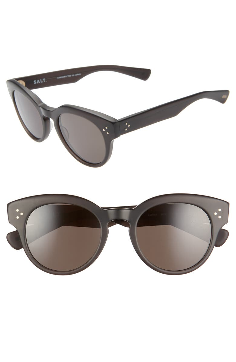 SALT. Lorna 50mm Polarized Cat Eye Sunglasses, Main, color, 001