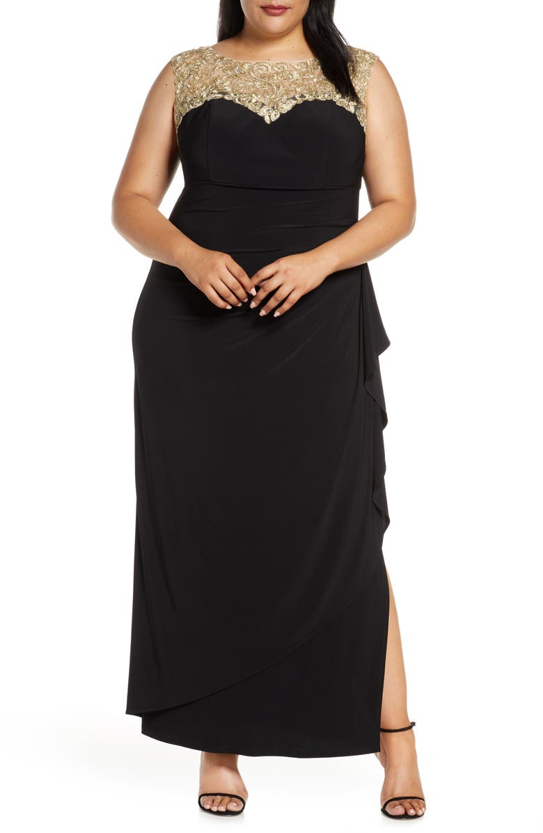 ALEX EVENINGS Embroidered Side Ruched Gown, Main, color, BLACK GOLD