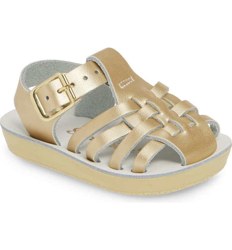 SALT WATER SANDALS BY HOY Water Friendly Fisherman Sandal, Main, color, GOLD