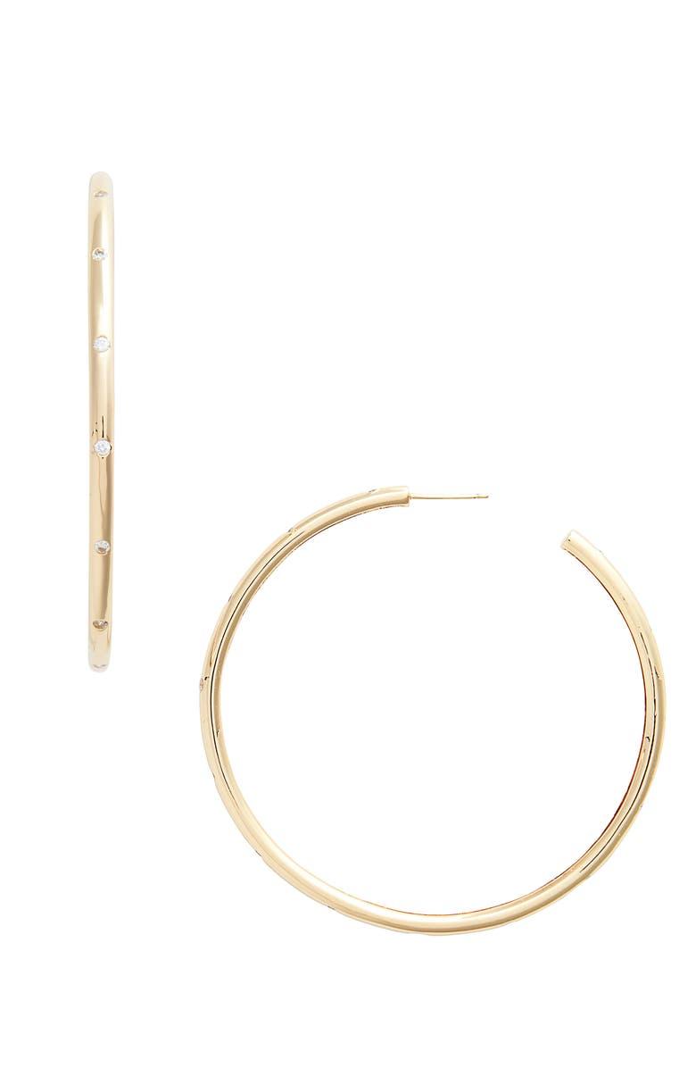 LULU DK x We Wore What Studded Hoop Earrings, Main, color, 710