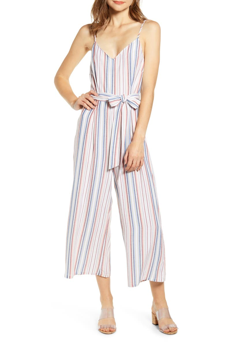 LOVE, FIRE Stripe Belted Jumpsuit, Main, color, 400