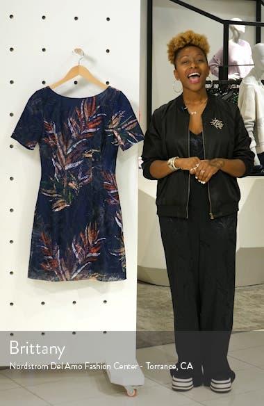 Badgley Mischka Embroidered Palm Print Sheath Dress, sales video thumbnail