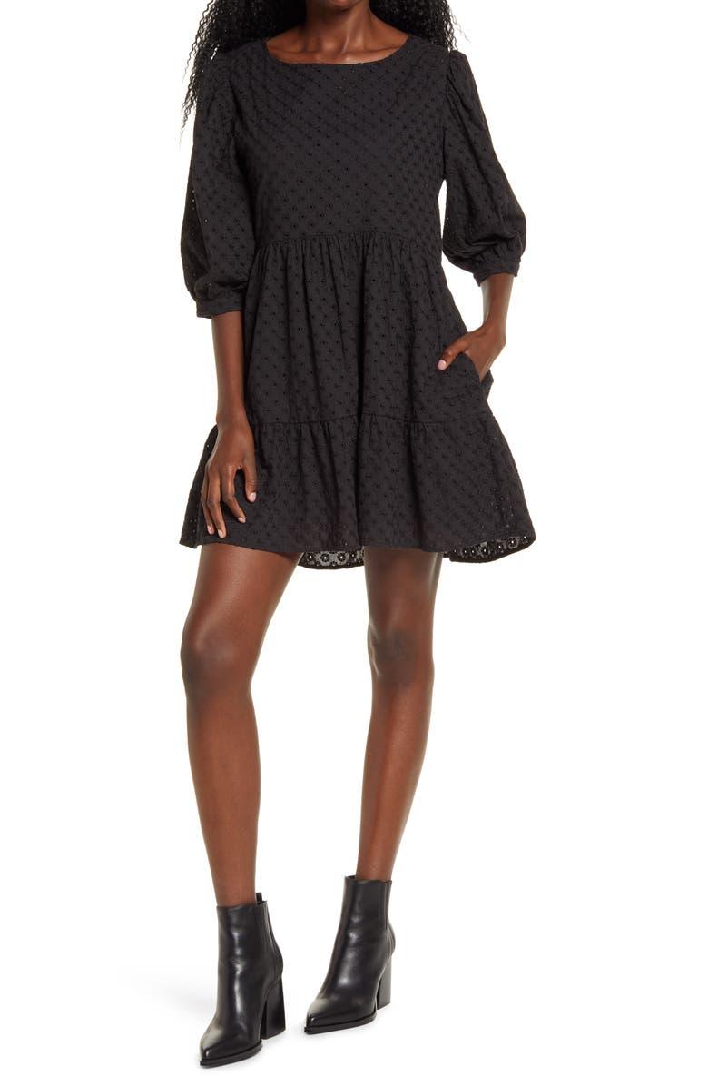 WAYF x BFF Lauren Babydoll Dress, Main, color, BLACK EMBROIDERY